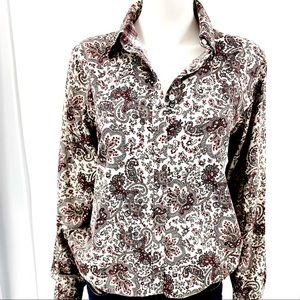 CHAPS-Size XL-Paisley Print W/Checkered Cuff Shirt